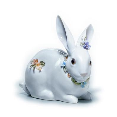 〈リヤドロ〉花飾りの白うさぎ(2)01006098[モ]kuin_Y150617100016_0_0_0