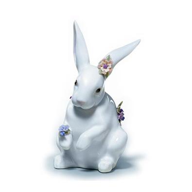 〈リヤドロ〉花飾りの白うさぎ(4)01006100[モ]kuin_Y150617100017_0_0_0