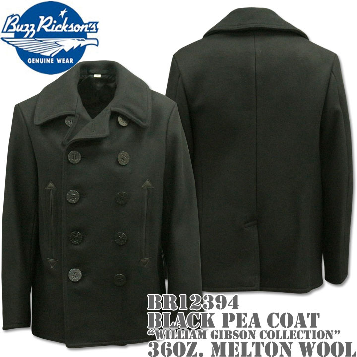 BUZZ RICKSON'S バズリクソンズ Type BLACK PEA COAT 36oz Wool WILLIAM GIBSON COLLECTION BR12394