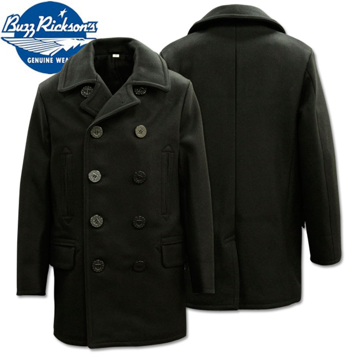 BUZZ RICKSON'S ( バズリクソンズ ) BLACK PEA COAT 36oz Wool/Wool Lining(LONG MODEL)『WILLIAM GIBSON COLLECTION』 BR14421 Black