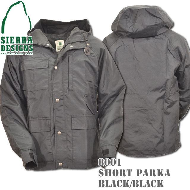 SIERRA DESIGNS シエラデザインズ SHORT PARKA ショートパーカー 8001 Black/Black Silverボタン