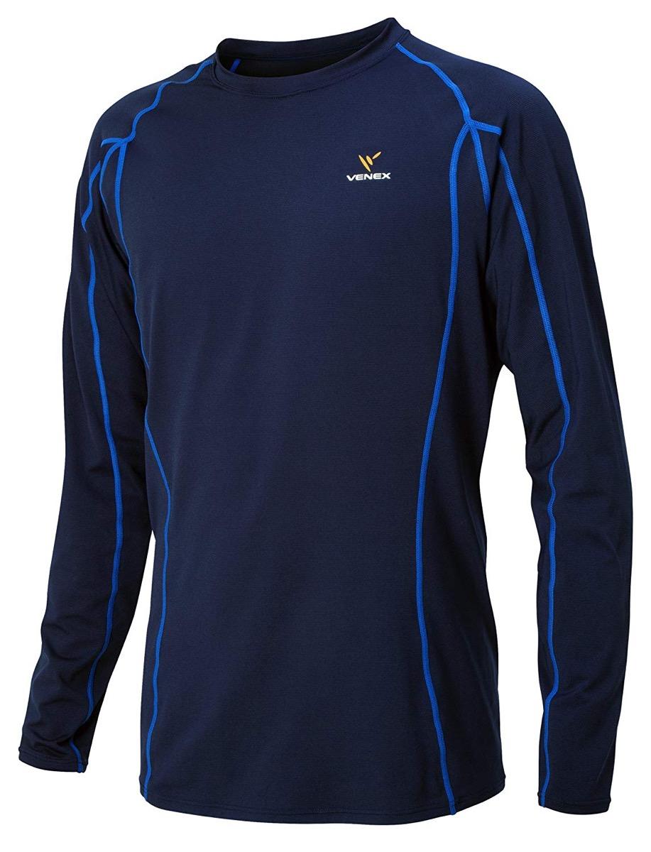 VENEX(ベネクス) リカバリーウェア リチャージ+(プラス) トップス メンズ 部屋着 半袖 長袖 インナー パジャマ 疲れとり 疲労回復 快眠 安眠 (XL, 長袖/ネイビー) 64310523