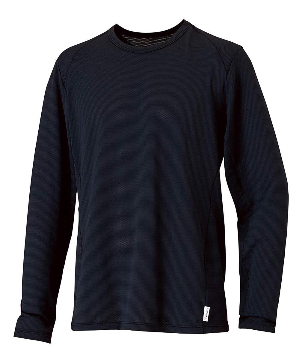 VENEX(ベネクス) リカバリーウェア フリーフィールクール トップス メンズ 部屋着 半袖 長袖 接触冷感 インナー パジャマ 疲れとり 疲労回復 快眠 安眠 (長袖/ブラック, L)