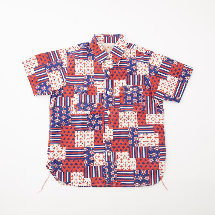 Sugar Cane シュガーケーン MARINE PRINT S/S WORK SHIRT SC37945-165 Red