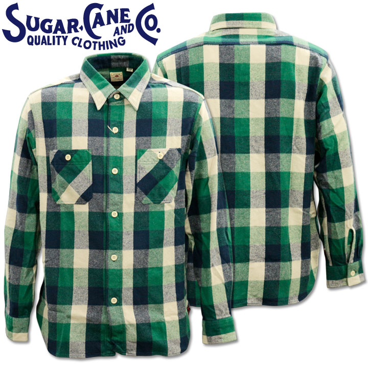 Sugar Cane(シュガーケーン)TWILL CHECK L/S WORK SHIRT SC28236-145 Green