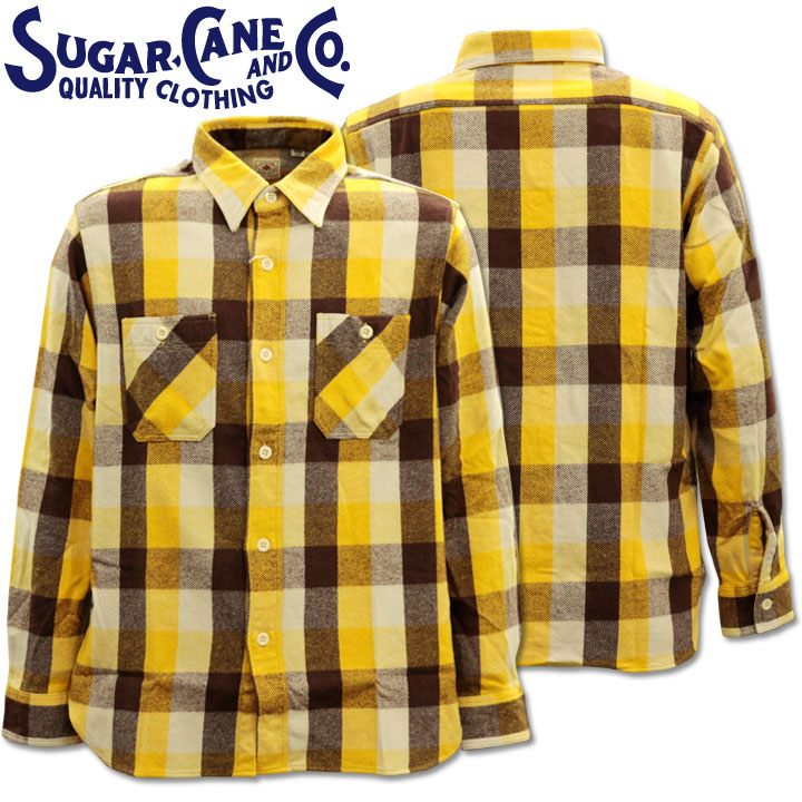 Sugar Cane(シュガーケーン)TWILL CHECK L/S WORK SHIRT SC28236-155 Yellow