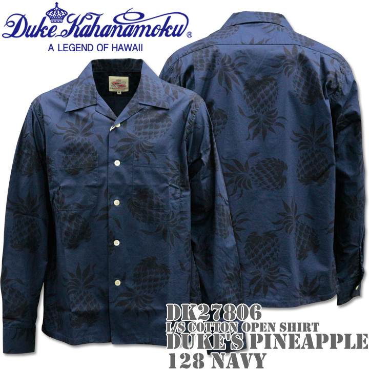Duke Kahanamoku デューク カハナモク COTTON OPEN SHIRT『DUKE'S PINEAPPLE L/Sleeve』DK27806-128 Navy