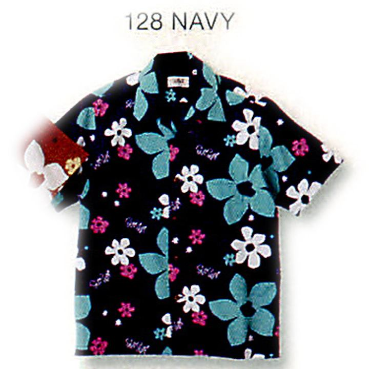 SUN SURF サンサーフ COTTON TYPEWRITER OPEN SHIRT ABSTRACT FLOWER by Masked Marvel SS37922-128 Navy