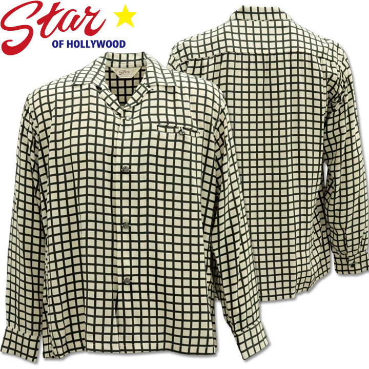 Star OF HOLLYWOOD ( スターオブハリウッド ) L/S Open Shirt 『 SQUARE GRID 』 SH28125-105 Off White