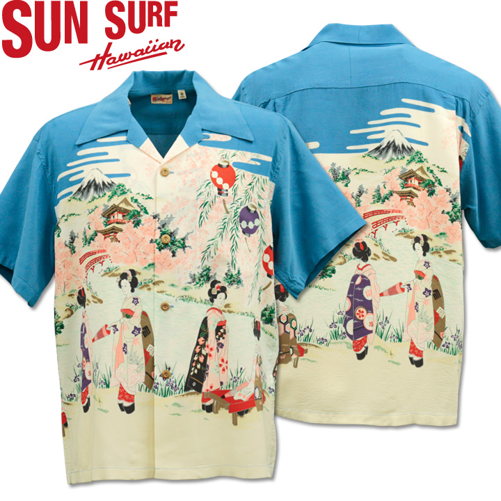 SUN SURF サンサーフ アロハシャツ HAWAIIAN SHIRT OLD JAPANESE SCENERY SS38030-125 Blue