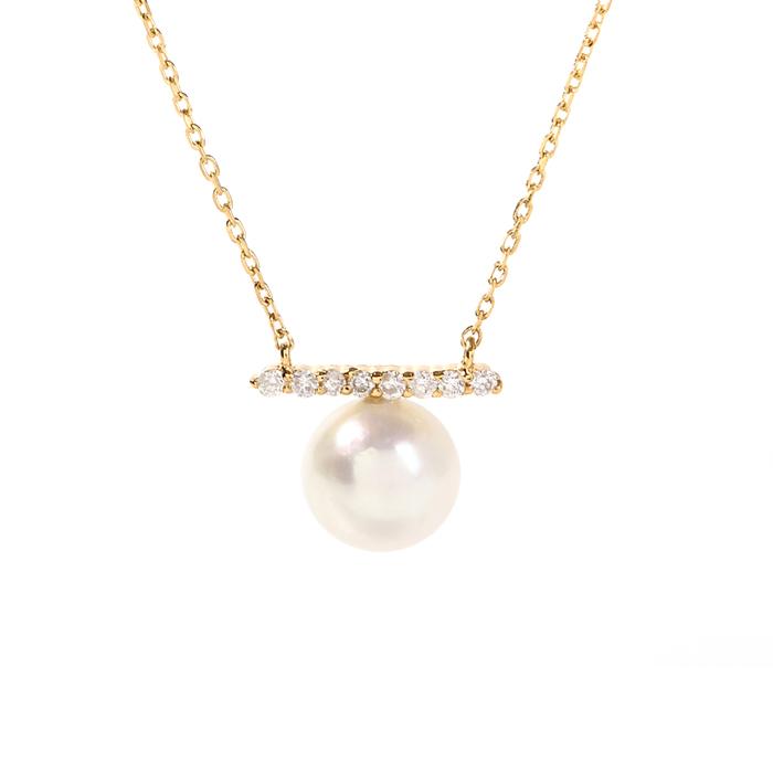ネックレス パール 18k 18金 あこや真珠 5.5-6.0mm ダイヤモンド レディース プレゼント ギフトボックス付き【送料無料/ラッピング無料】