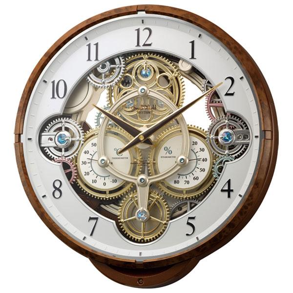 【お取り寄せ】4MN515RH23 電波からくり掛時計 リズム時計 スモールワールドシーカー 壁掛け時計 電波時計 電波掛け時計 電波掛時計 壁掛時計 かけ時計 壁掛け電波時計 電波壁掛け