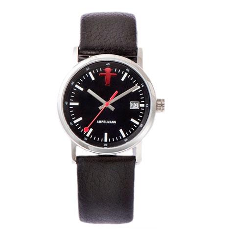 お取り寄せ【北海道・沖縄・離島配送不可】ASC-4973-05 腕時計 AMPELMANN アンペルマン クォーツ ラウンド レザーバンド ブラック ASC497305