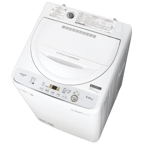 送料無料※北海道・沖縄県除く 【時間指定不可】【離島配送不可】ES-GE5C-W 全自動洗濯機 SHARP シャープ 洗濯・脱水容量5.5kg ESGE5CW ホワイト系