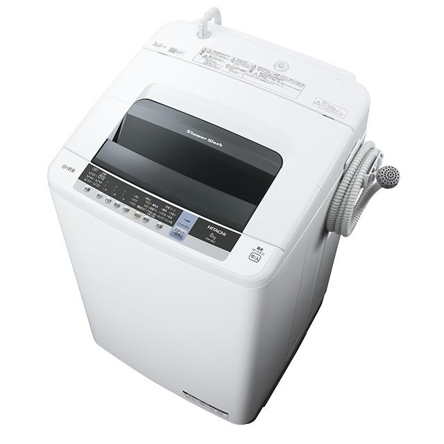 【時間指定不可】【離島配送不可】NW-80C-W 全自動洗濯機 HITACHI 日立 シャワー浸透洗浄 白い約束 洗濯・脱水容量8kg NW80CW ピュアホワイト