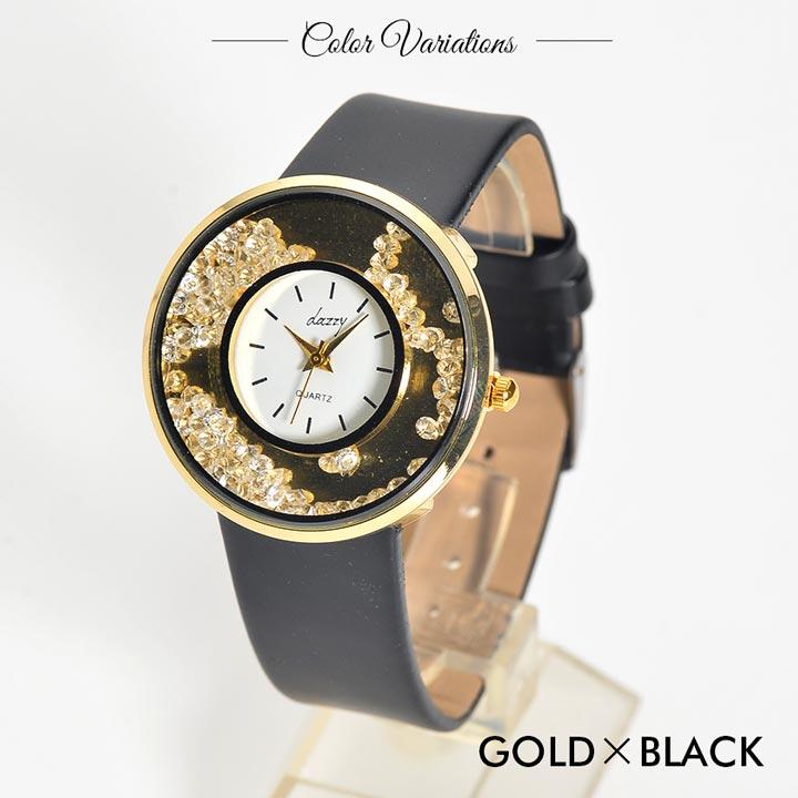 時計 レディース ブランド 腕時計 キラキラムーブラインストーンウォッチ シルバー 白 ピンク ゴールド 黒 アクセサリー doods デイジーストア ladies 女性 小物 あす楽