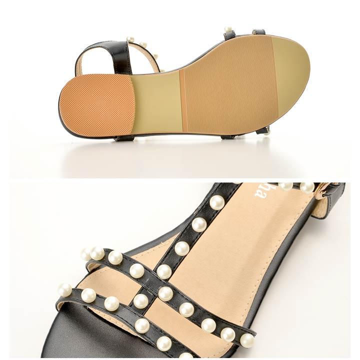 サンダル 靴 レディース 1cmヒール パール付きT字ストラップフラットサンダル 5サイズ XS S M L LL goods デイジーストア あす楽