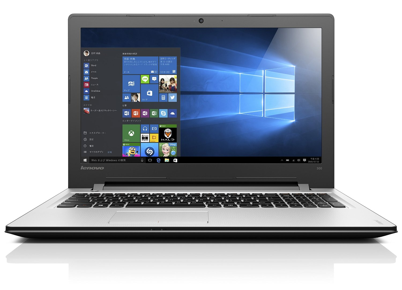 ★Lenovo ノートパソコン IdeaPad 300 80M300GXJP / Windows 10 Home 64bit / 15.6インチ / Celeron N3060 / プラチナシルバー