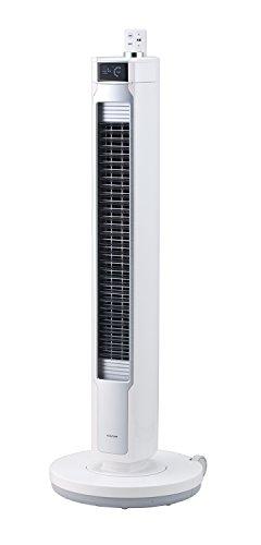 【キャッシュレス5%還元対象】コイズミ 扇風機 コードレス タワーファン DCモーター 風量10段階 タイマー付き 自動首振り リモコン付き キャスター付き ホワイト KTF-0581/W