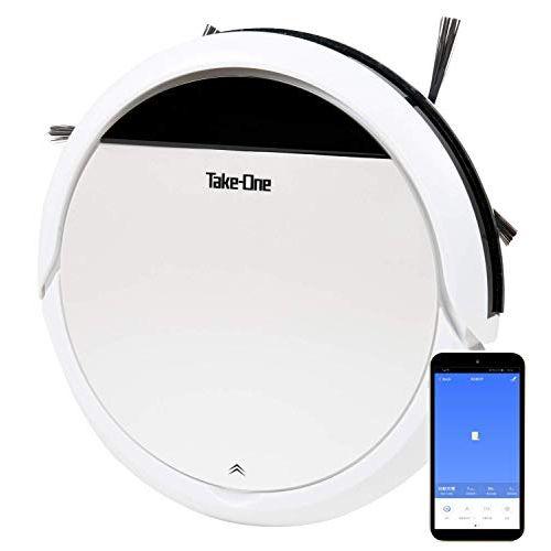 Take-One X1 ロボット掃除機 水拭き 乾拭き お掃除ロボット 小型 自動充電 Alexa/Google Home 対応 Wi-Fi接続 音声機能 ペットの毛 カーペット 薄型 ホワイト