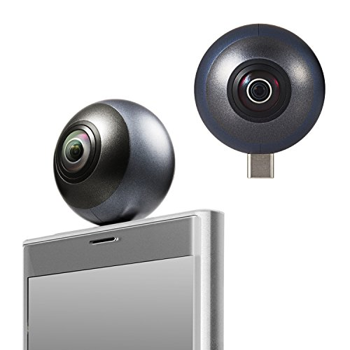 エレコム 360度カメラ スマホ直挿しタイプ 静止画/動画(2.5K)/VR %ダブルクォーテ%オムニショットミニ%ダブルクォーテ% 全天球カメラ ブラック OCAM-VRU01BK