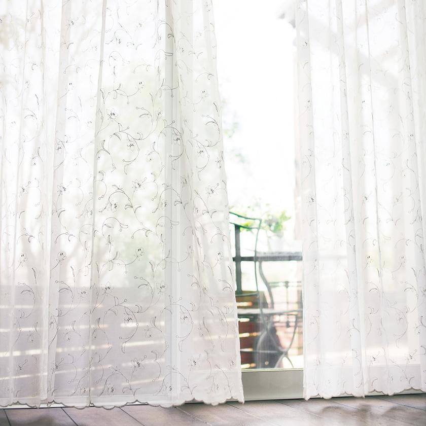 【送料無料】オーダーカーテン▼ヨコ使いレース ソフトウェーブ縫製 フラット・両開き 裾刺繍▼川島織物セルコン !'mシリーズ ME2417I'm アイム