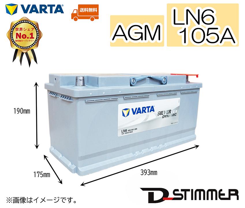 VARTA ヴァルタ バッテリー105A LN6 AGMシルバーダイナミックAGMシリーズ延長保証も追加可能!!605901095発送先 本州分(北海道・沖縄・離島はお値段変わります)平日15時までのご注文で当日出荷可能でございます!
