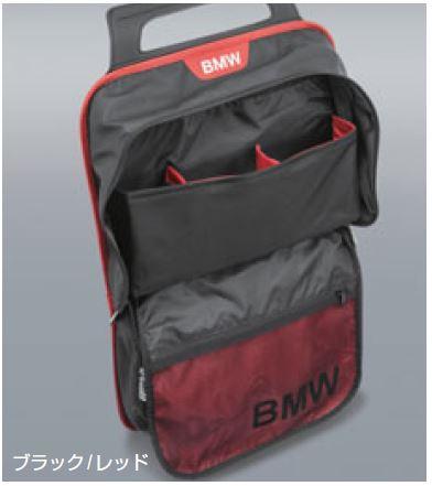 ☆BMW 純正アクセサリーシート・バック・ストレージ・ポケットブラック/レッド52122219889