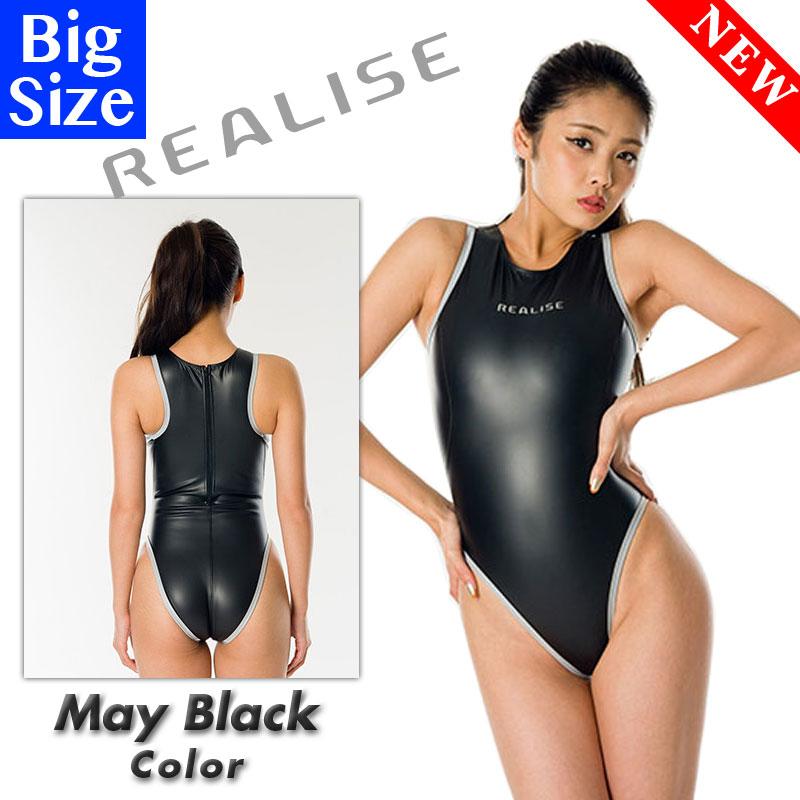 REALISE(リアライズ)【N-709MBL_big】リフレクターパイピングスーツ 競泳水着コスチューム マットブラック Bigサイズ(送料無料)【売れ筋】【オススメ】