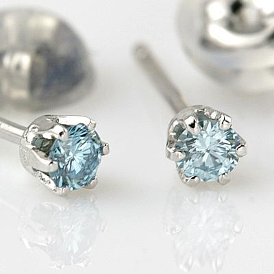 ダイヤモンド【 輝き厳選保証 】PTアイスブルーダイヤモンドピアス 0.10ct 【カラーダイヤ/カラーダイヤモンド/ブルーダイヤ/プラチナ】