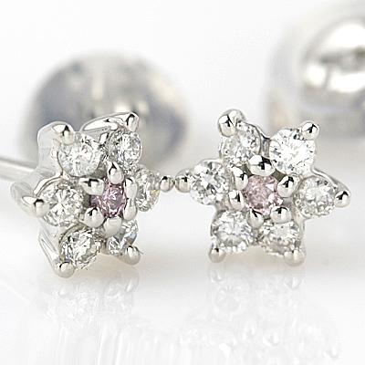 【送料無料】プレゼントに! K18WGピンクダイヤモンドピアス 0.02ct 0.12ct ピンクダイヤ ピアス
