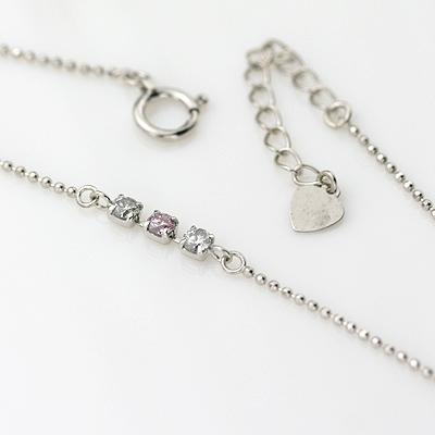 K18WGピンクダイヤモンドブレスレット 0.06ct 0.12ct ピンクダイヤ/ホワイトゴールド/18金/ダイヤブレス/ダイヤモンドブレス