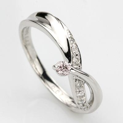K18WGピンクダイヤリング 0.05ct 0.07ct
