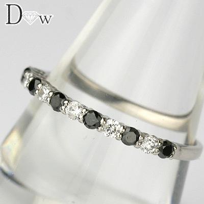 【PTブラックダイヤモンドリング 0.14ct 0.17ct】【ハーフエタニティータイプ】【SIクラスダイヤ使用】【品質保証書付】ブラックダイヤモンド ダイヤモンド【 輝き厳選保証 】