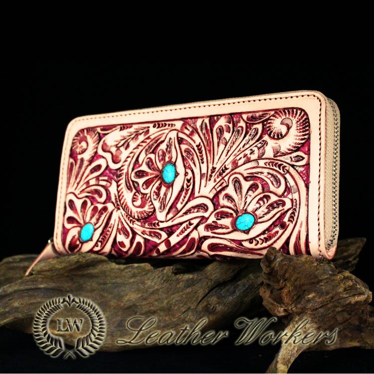 【FDC】ファスナーウォレット 透かし彫りカービングウォレット 牛革 メンズ財布 革財布 ハンドメイド