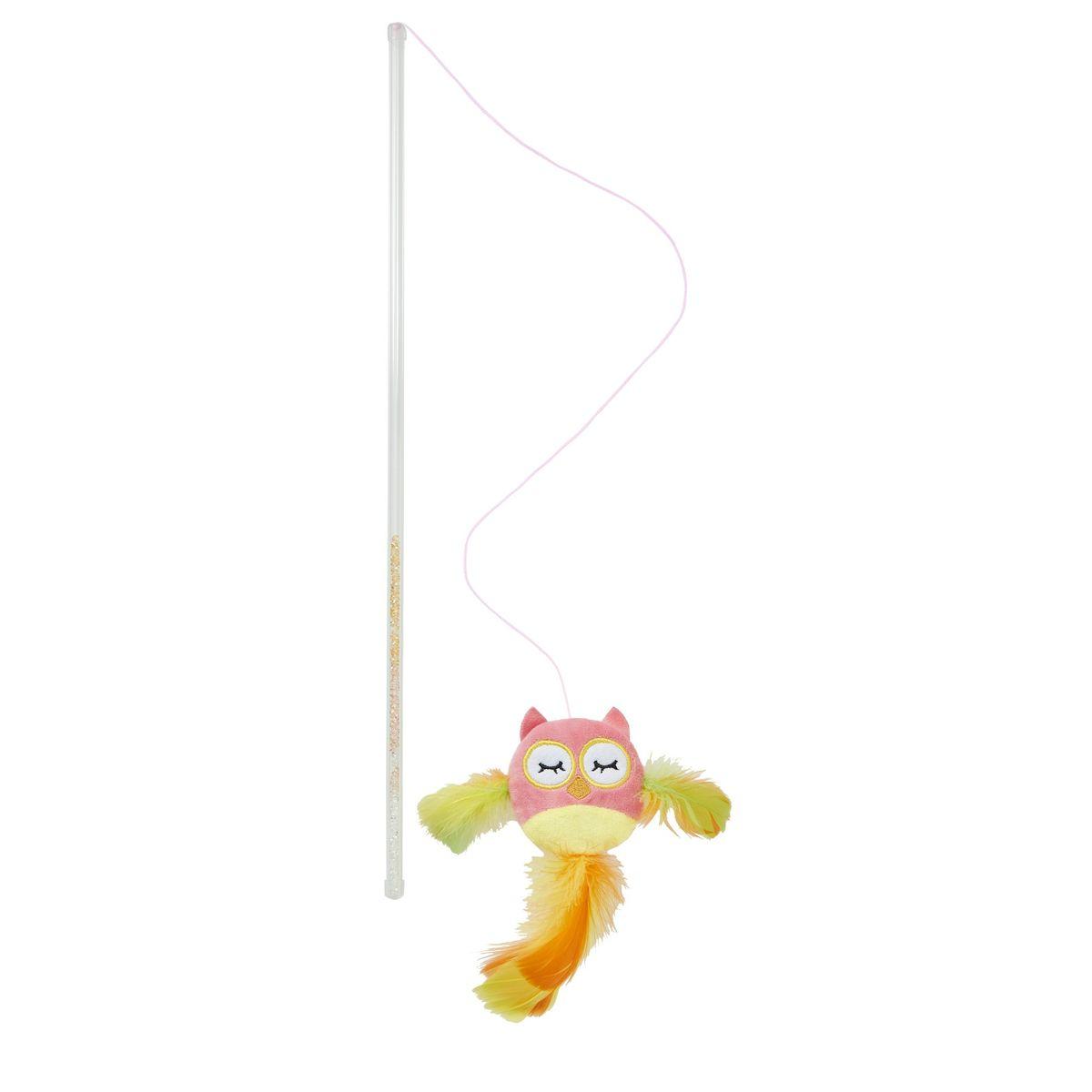 爆買いセール ラトル入り猫用ワンドトイ 本能を刺激する本物の羽付き FAD+ 国内在庫 フェザーワンド ピンクオウル