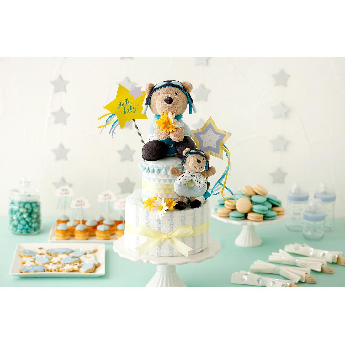 Diaper Cake ダイパーケーキ スターベア | おむつケーキ 男の子 女の子 おしゃれ かわいい シンプル 送料無料 パンパース sサイズ 出産祝い プレゼント ギフト タオル おもちゃ