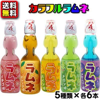 【送料無料】【ハタ鉱泉】カラフルフルーツ瓶ラムネ 200mlアソート(5種類×各6本セット)