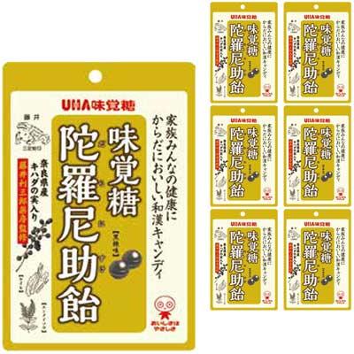 UHA味覚糖 300円 味覚糖 6袋入 陀羅尼助飴 日本産 現金特価 奈良県産キハダの実入り80g〈黒糖味〉