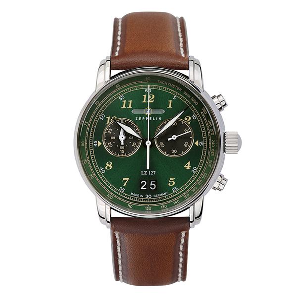 【クーポン利用で10%OFF】緑 グリーン グラフ ビッグデイト 8684-4 ZEPPELIN ツェッペリン メンズ 腕時計 国内正規品 送料無料