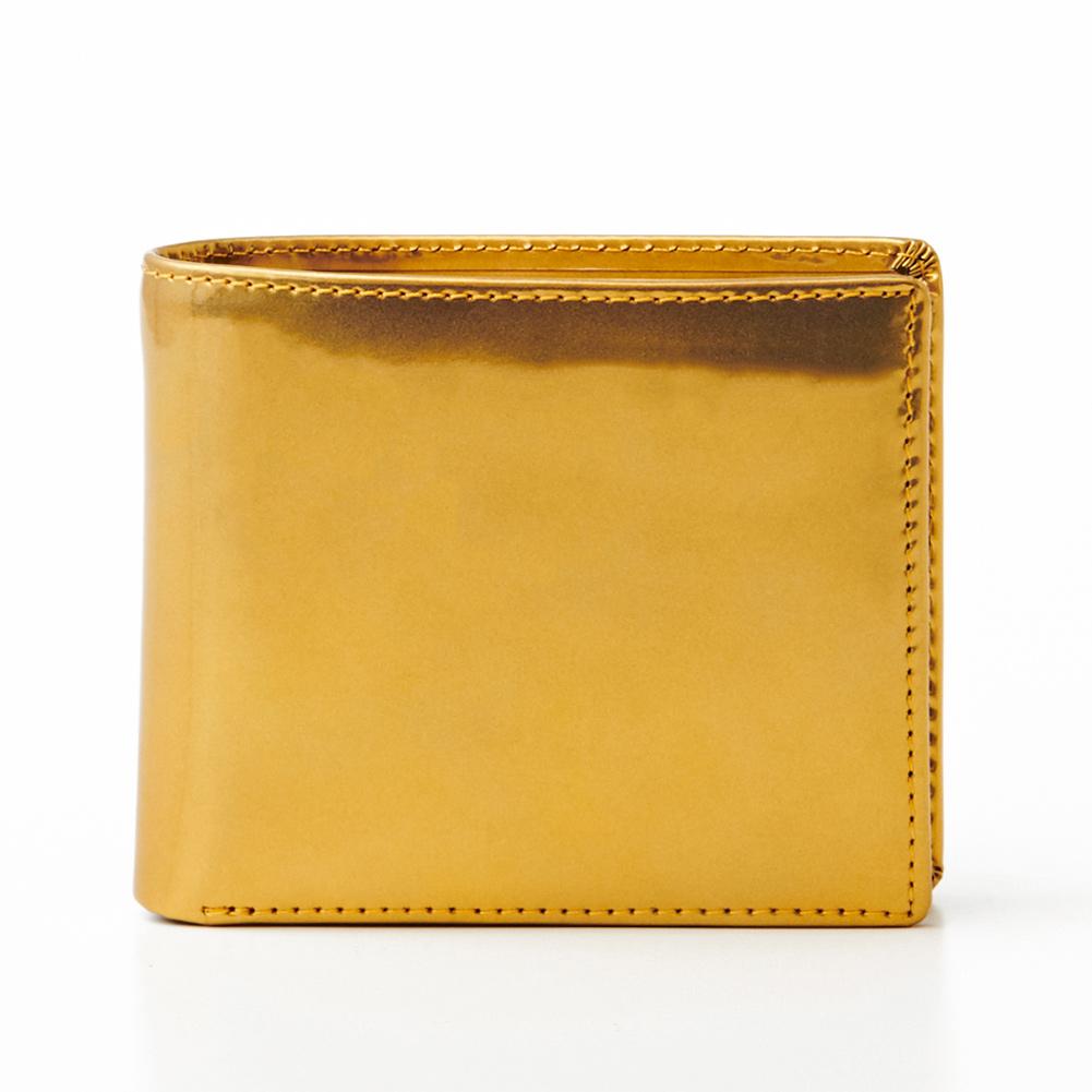 財布 ゴールド本革 ゴルベ GORBE 二つ折り 財布 レインボーゴールドイタリアンレザー