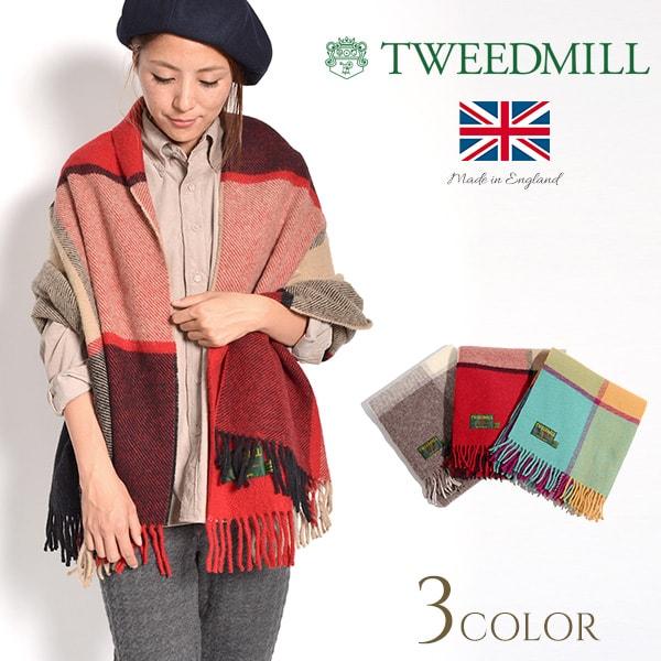 1a7471dea0575 Product made in TWEED MILL (tweed mil) block check wool knee rag / large  size stall / shawl / blanket / rug / Lady's / U.K.