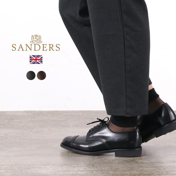 SANDERS(サンダース) #1830 ミリタリーダービーシューズ / レザーシューズ レザーブーツ ドレスシューズ / レディース / 外羽根 ストレートチップ レースアップ / 英国製