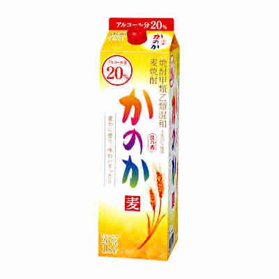 【送料無料2ケース】かのか 〈麦〉 20度 アサヒ 1.8L(1800ml) パック 6本入×2★北海道、沖縄のみ別途送料が必要となります