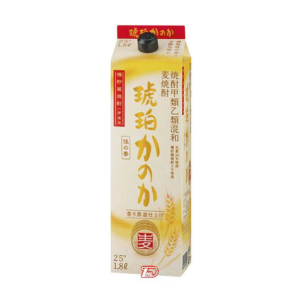 【送料無料2ケース】琥珀かのか 〈麦〉 25度 アサヒ 1.8L(1800ml) パック 6本×2★北海道、沖縄のみ別途送料が必要となります