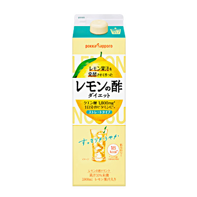送料無料2ケース レモン果汁を発酵させて作った 《週末限定タイムセール》 大好評です レモンの酢 ダイエットストレート ポッカサッポロ 沖縄のみ別途送料が必要となります 北海道 6本×2 1.0L パック