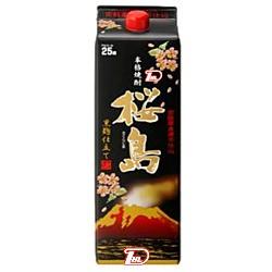 【2ケース】黒麹仕立て 桜島 〈芋〉 25度 本坊酒造 1.8L(1800ml) パック 6本入×2