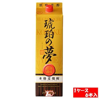 【2ケース】琥珀の夢 麦 25度 白波酒造 1.8L 6本入×2