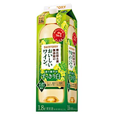 【2ケース】酸化防止剤無添加のおいしいワイン 白 サントリー 1.8Lパック 6本×2