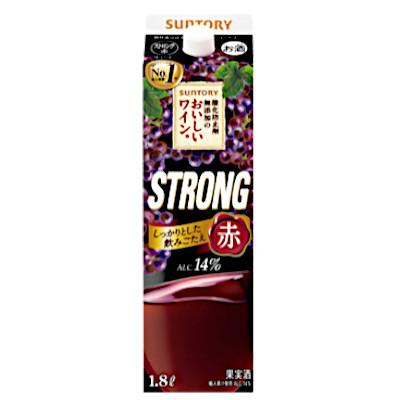 【2ケース】酸化防止剤無添加のおいしいワイン ストロング赤 サントリー 1.8Lパック 6本×2